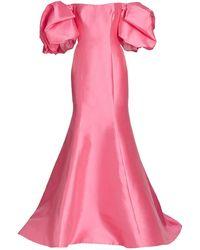 Monique Lhuillier Mermaid Puff-sleeve Mikado Gown - Pink
