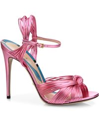 Gucci Allie Knotted Metallic Leather Sandals - Pink