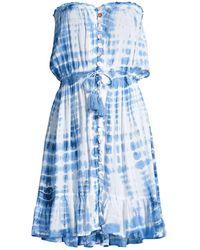 Tiare Hawaii Ryden Tie-dye Drawstring Mini Dress - Blue