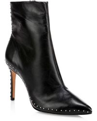 Schutz - Wilka Point Toe Studded Leather Booties - Lyst