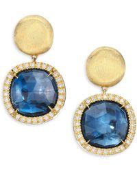 Marco Bicego - Jaipur Diamond, Blue Topaz & 18k Yellow Gold Post Earrings - Gold - Lyst