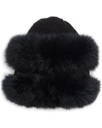 Glamourpuss - Fox Fur-trim Wool Knit Hat - Lyst
