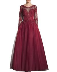 Basix Black Label - Illusion Beaded Ball Gown - Lyst