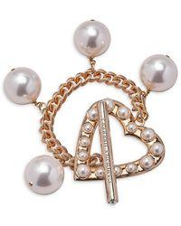 Carolina Herrera Goldtone Faux Pearl Heart Charm Bracelet - Multicolor