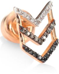 Kismet by Milka | Trio Chevron Diamond & 14k Rose Gold Single Stud Earring | Lyst