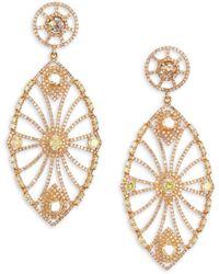 Bavna 18k Gold & Diamond Oversize Drop Earrings - Metallic