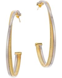 "Marco Bicego - Masai 18k White & Yellow Gold Large Hoop Earrings/1.75"" - Lyst"