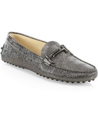 Tod's - Gommini Doppia Metallic Leather Flats - Lyst