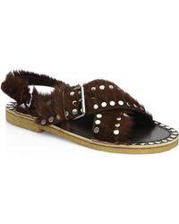 Prada - Studded Pony Hair Crisscross Sandals - Lyst