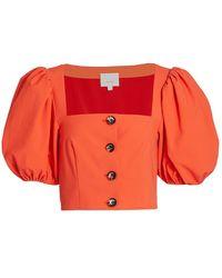 Cinq À Sept Casey Stretch Puff-sleeve Top - Orange