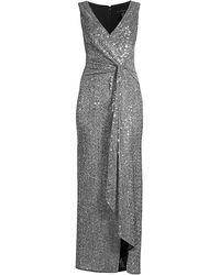 Aidan Mattox Twist Front Sequin Gown - Metallic