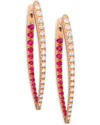 Melissa Kaye - Cristina Large Diamond, Ruby & 18k Pink Gold Hinged Hoop Earrings/1.25 - Lyst