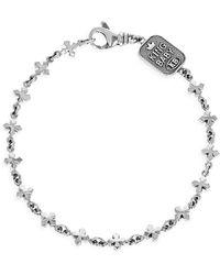 King Baby Studio New Classics Sterling Silver Small Cross Chain Bracelet - Metallic
