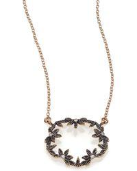 Mizuki - Diamond & 14k Blackened Gold Small Open Petal Necklace - Lyst