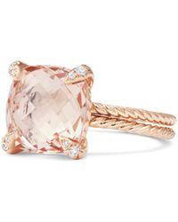 David Yurman - Chatelaine Morganite Ring With Diamonds - Lyst