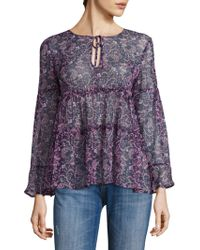 Joie - Shawni Floral Silk Long Sleeve Blouse - Lyst