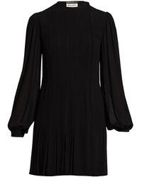 Saint Laurent Blouson Sleeve Mini Dress - Black