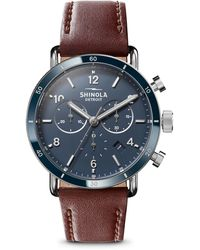 Shinola The Canfield Sport Two-eye Chronograph Watch - Blue