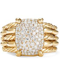 David Yurman - Tides Statement Ring In 18k Yellow Gold With Pave Plate - Lyst