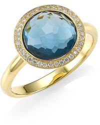Ippolita Lollipop Small 18k Yellow Gold, London Blue Topaz & Diamond Ring - Metallic
