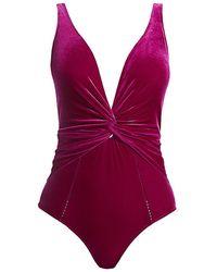 Jonathan Simkhai Front Twist Velvet One-piece Swimsuit - Purple