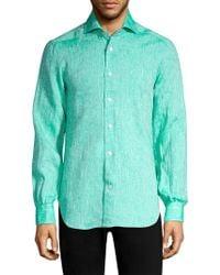 Kiton - Solid Linen Button-down Shirt - Lyst