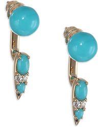 Nikos Koulis - Spectrum 18k Yellow Gold, Turquoise & Diamond Drop Earrings - Lyst