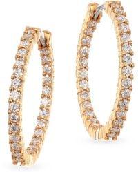 Roberto Coin - 18k Rose Gold & Diamond Hoop Earrings - Lyst