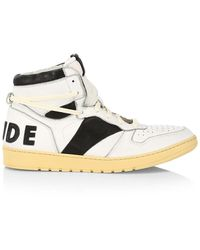 R H U D E © Logo Leather High-top Sneakers - White