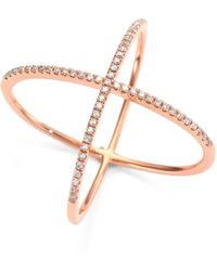 EF Collection - X Diamond & 14k Rose Gold Ring - Lyst
