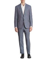 Ralph Lauren Textured Wool Blend Suit - Blue