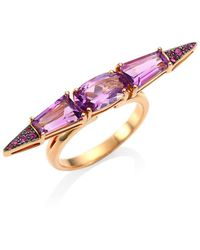Etho Maria Sharp Pink Sapphire & Amethyst 18k Rose Gold Ring - Multicolor