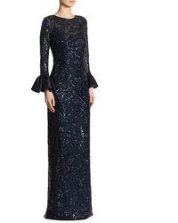 Teri Jon Sequined Bell-sleeve Gown - Blue