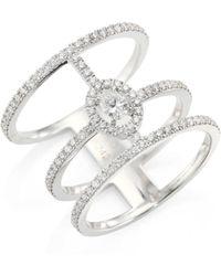 Messika - Glam'azone 3-row Diamond & 18k White Gold Ring - Lyst