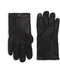 UGG Tabbed Splice Leather & Faux Fur Gloves - Black