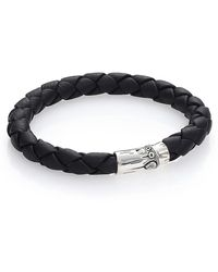 John Hardy Bamboo Woven Leather And Sterling Silver Bracelet - Metallic