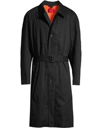 HUGO Marco Oversized Cotton Trench Coat - Black