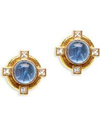 Elizabeth Locke Venetian Glass Intaglio Cabachon 19k Yellow Gold & Moonstone 'putto & Duck' Earrings - Metallic