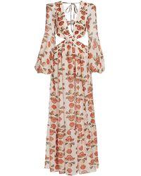 PATBO Seashell Puff-sleeve Side Cutout Maxi Dress - Multicolor