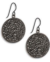 Nest - Hematite Pavé Drop Earrings - Lyst