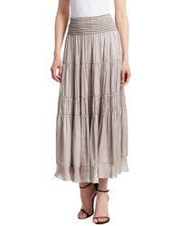 Halston - Flowy Smocked Waist Skirt - Lyst