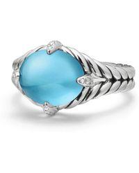David Yurman - Chatelaine Diamond, Blue Topaz & Sterlinv Silver Ring - Lyst