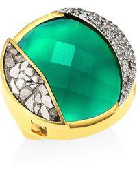Shana Gulati - 18k Goldplated Diamonds & Green Onxy Ring - Lyst