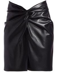Nanushka Milo Vegan Leather Knotted Skirt - Black
