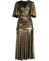 Michael Kors Knotted Stretch-lamé Midi Dress - Metallic
