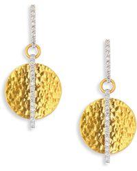Gurhan - Small Lush Diamond, 24k Yellow Gold & 18k White Gold Drop Earrings - Lyst