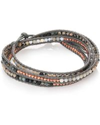 Chan Luu - Cat Eye, Dalmation Jasper, White Opal & Leather Beaded Wrap Bracelet - Lyst