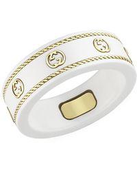 Gucci Icon Ring With Yellow Gold Interlocking G - Metallic