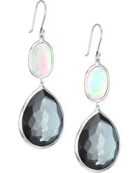 Ippolita Ondine Sterling Silver, Clear Quartz, Hematite & Black Shell Drop Earrings
