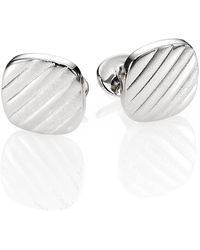 David Donahue Diagonal Stripe Cuff Links - Metallic